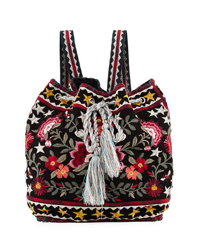 Emilia Embroidered Linen Backpack