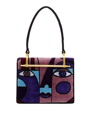 Cubist Velvet Top Handle Bag