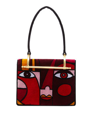 Image 1 of 5: Cubist Velvet Top Handle Bag