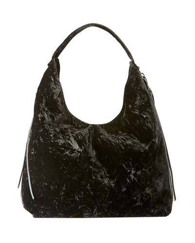 Bryn Velvet Dual-Zip Hobo Bag