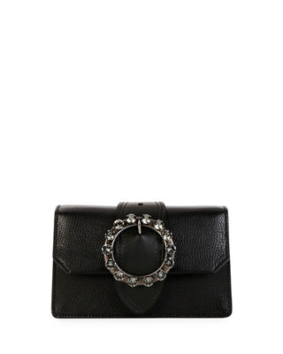 Miu Miu Madras Jewels Leather Buckle Clutch Bag