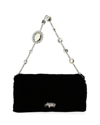 Image 3 of 5: Jeweled Fur Chain Clutch Bag
