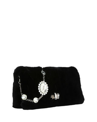 Image 4 of 5: Jeweled Fur Chain Clutch Bag