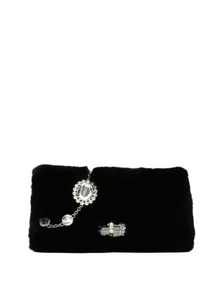 Image 1 of 5: Jeweled Fur Chain Clutch Bag