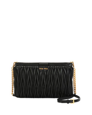 Image 1 of 4: Matelasse Leather Clutch/Crossbody Bag