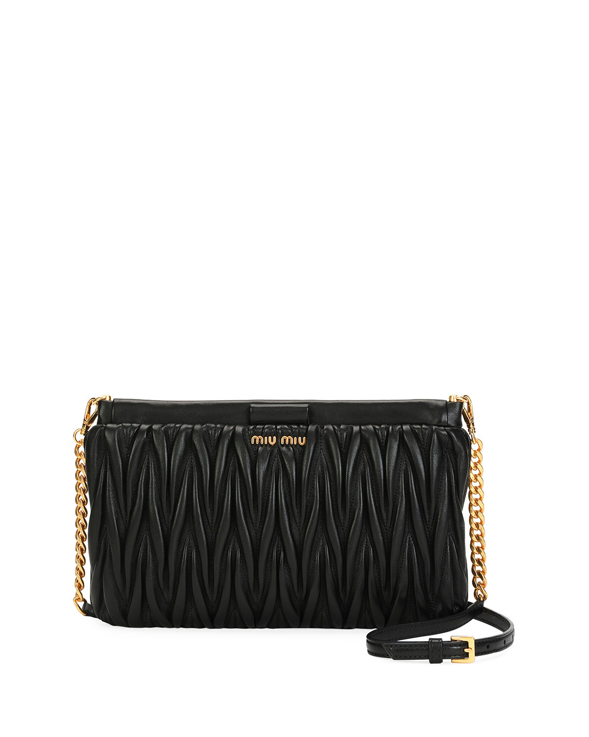 c1d8d76555f6 Miu Miu Matelasse Leather Clutch Crossbody Bag
