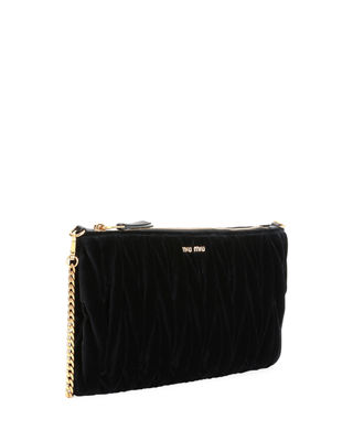 Club Collection Velvet Matelasse Pochette Clutch Bag