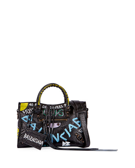 40ff1c122ac Balenciaga Classic City Printed Textured-Leather Tote In Black ...