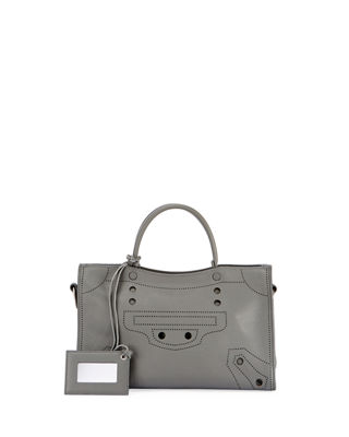 Blackout City Small Leather Bag - Gray