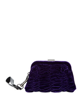Image 1 of 2: Quilted Velvet Wristlet Clutch Bag