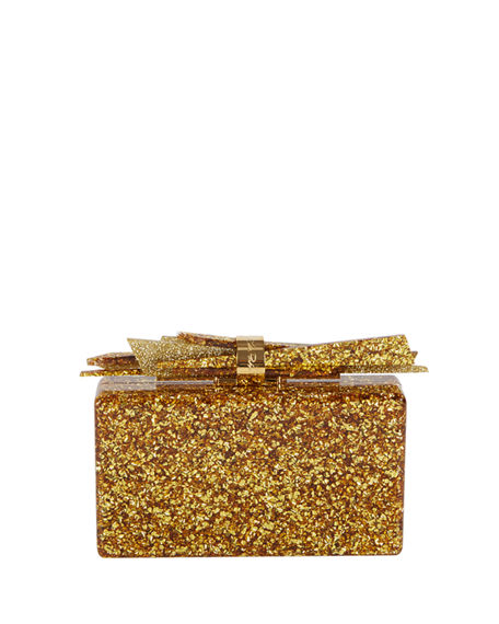 Edie Parker  WOLF GLITTERED ACRYLIC CLUTCH BAG