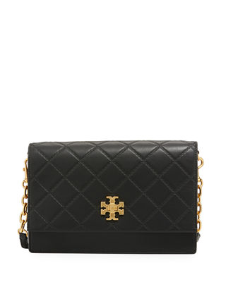 Mini Georgia Quilted Leather Shoulder Bag - Black
