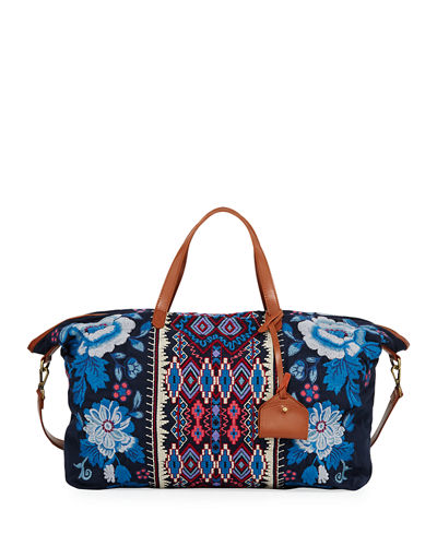 Johnny Was Dexter Embroidered Canvas Weekend Bag and