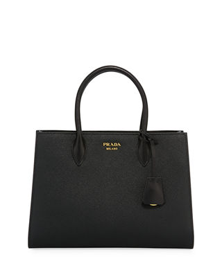 Image 1 of 3: Large Bicolor Saffiano Side-Pleat Tote Bag
