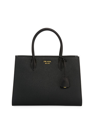 Prada Large Bicolor Saffiano Side-Pleat Tote Bag