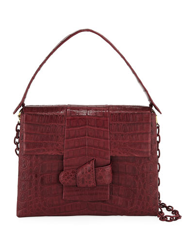 Nancy Gonzalez Medium Origami Knot Crocodile Shoulder Bag