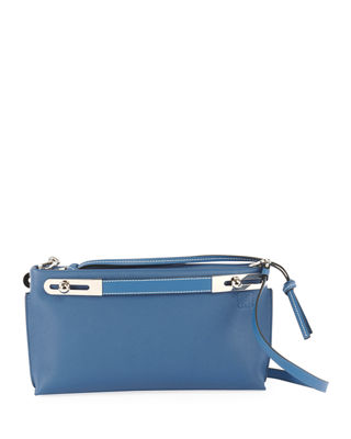 Missy Small Textured-Leather Shoulder Bag in Blue