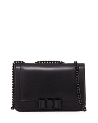 Vara Small Black Leather Shoulder Bag