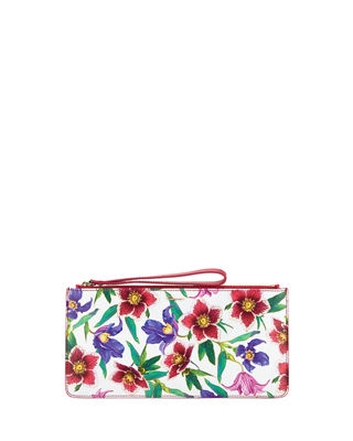Small Floral-Print Zip Pouch Wristlet