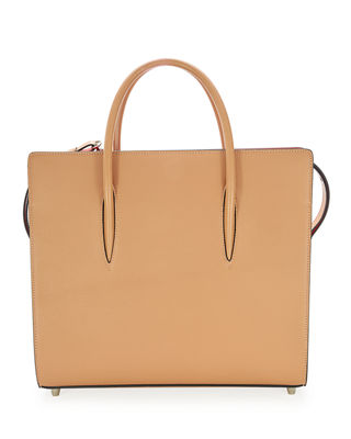 Large Paloma Leather Tote - Beige in Nude/ Nude