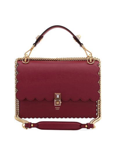 Kan I Regular Leather Scalloped Shoulder Bag