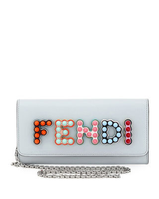 Fendi Polished Studded Continental Wallet On A Chain