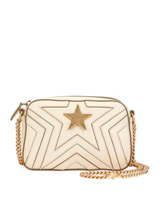 Mini Star Quilted Faux Leather Camera Bag - Ivory, Cream