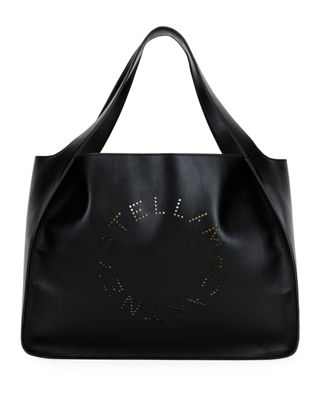 Medium Perforated Logo Faux Leather Tote - Black