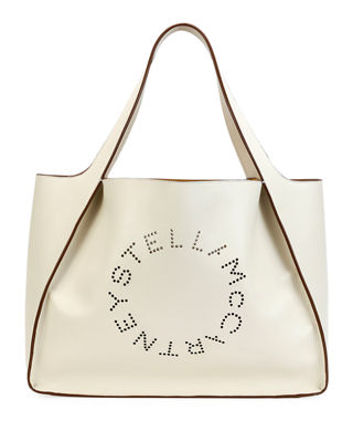 Medium Perforated Logo Faux Leather Tote - White