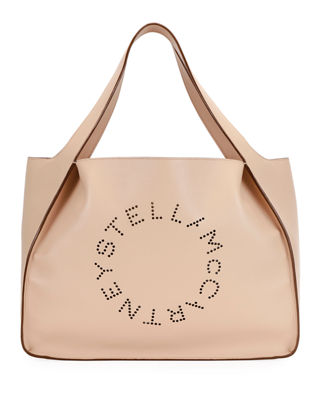 Medium Perforated Logo Faux Leather Tote - Pink in Neutrals