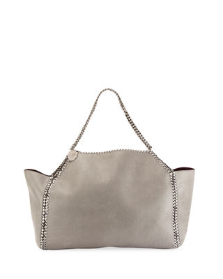 Small Oleo Deer Reversible Faux Leather Tote - Grey in Light Grey