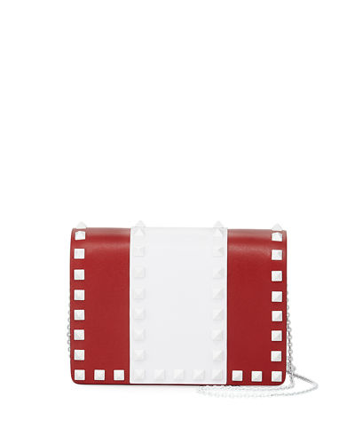 Free Rockstud Colorblock Leather Chain Shoulder Bag