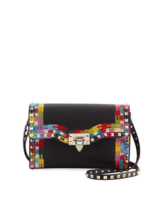 Image 1 of 4: Rockstud Medium Framed Leather Shoulder Bag