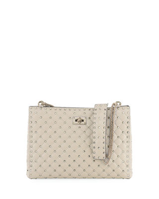 Rockstud Quilted Napa Shoulder Tote Bag