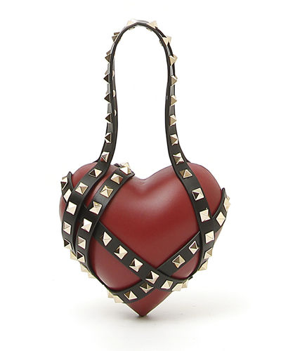 Carry Secrets Leather Heart Minaudiere Bag