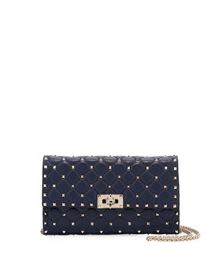 Image 1 of 3: Rockstud Spike Quilted Napa Leather Wallet on Chain