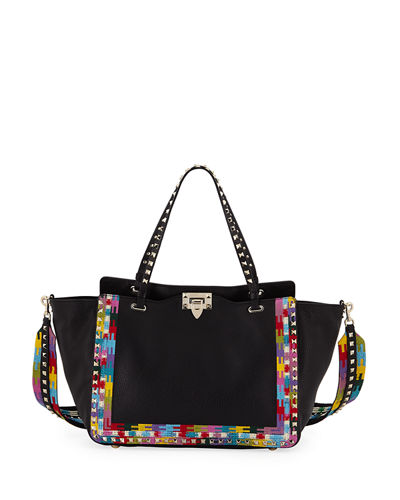 Rockstud Rolling Embroidered Tote Bag