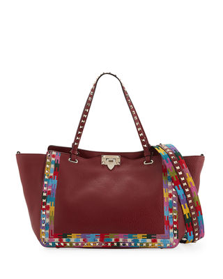 Image 1 of 3: Rockstud Rolling Embroidered Tote Bag