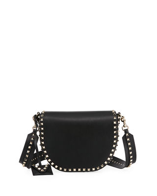 Image 1 of 3: Rockstud Leather Saddle Bag