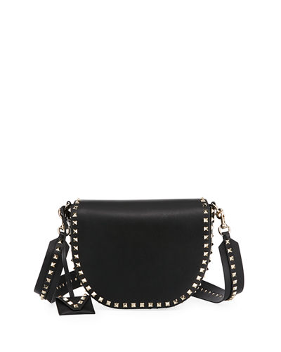 Rockstud Leather Saddle Bag
