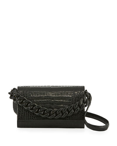 Convertible Chain-Trim Crocodile Flap Bag
