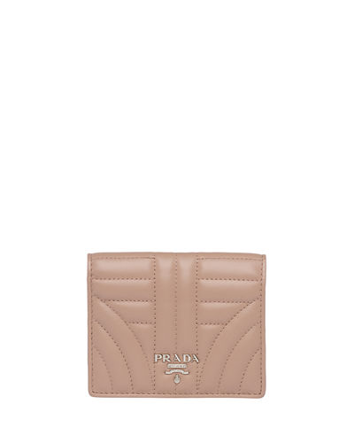 Prada Impunture Quilted Fold-Over French Wallet