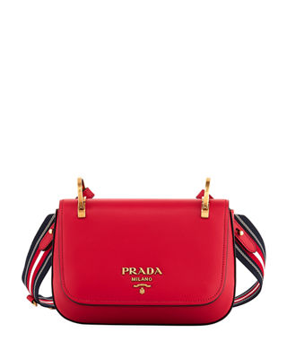 Prada City Calf Ring-Top Small Messenger Bag
