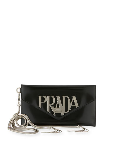 Prada Spazzolato Logo Envelope Clutch Bag