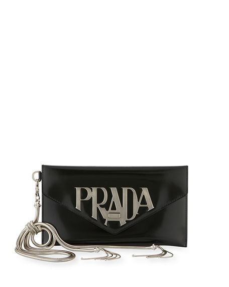 a1bdc7c268b2 Prada Spazzolato Logo Envelope Clutch Bag In Female