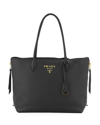 Prada Daino Double Handle Leather Tote Bag