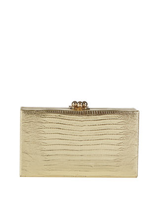 Edie Parker Jean Lizard Framed Clutch Bag