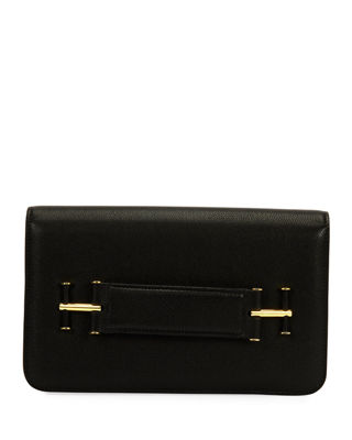 Small Tara Leather Clutch Bag in Black