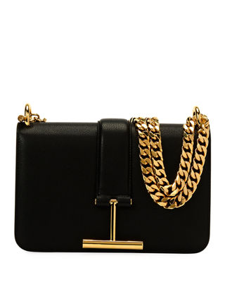 Image 1 of 2: Tara Chain Grain Leather Shoulder Bag
