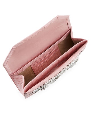 Image 2 of 3: Floral Insert Crocodile Clutch Bag